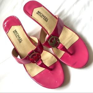 Michael Kors Hot Pink Wedges Sandals Size 9.5